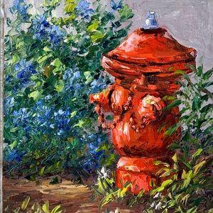 "Rare Sue Perry ""Fire Plug"" Painting"